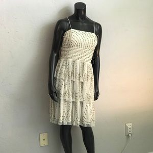 Ivory Gold Sequin Party Dress NWT White